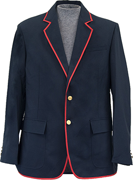 Navy Blue Blazer With Red Trim